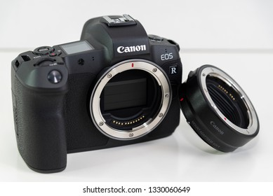 HELSINGBORG, SWEDEN; March 1, 2019: The new mirroless full frame camera Canon EOS R and lens mount adapter.