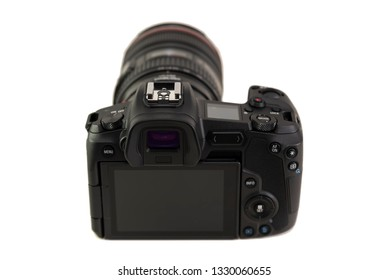 HELSINGBORG, SWEDEN; March 1, 2019: The new mirroless full frame camera Canon EOS R, with the 24-105 mm  lens attached.