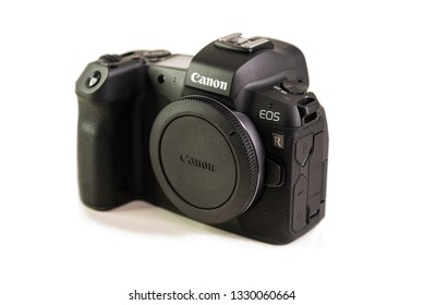 HELSINGBORG, SWEDEN; March 1, 2019: The new mirroless full frame Canon EOS R camera body.