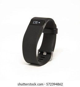 HELSINGBORG, SWEDEN - MARCH 25, 2016: An illustrative editorial image of the Fitbit Charge HR isolated against a white background.