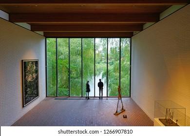 HELSINGOR, DENMARK -26 SEP 2018- View of the Louisiana Museum of Modern Art in Helsingor (Elsinore), Denmark, home of Shakespeare's Hamlet.