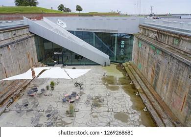 HELSINGOR, DENMARK -26 SEP 2018- View of the M/S Maritime Museum of Denmark (M/S Museet for Søfart) located in Helsingor (Elsinore), Denmark, home of Shakespeare's Hamlet.