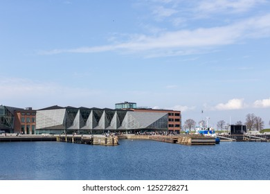 Helsingor, Denmark - April 28, 2018: Exterior view of the Culture Yard, a cultural centre located at the harbor