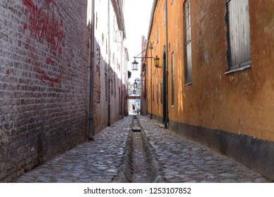Helsingor, Denmark - April 28, 2018: Narrow street and old colorful houses in the historic city centre
