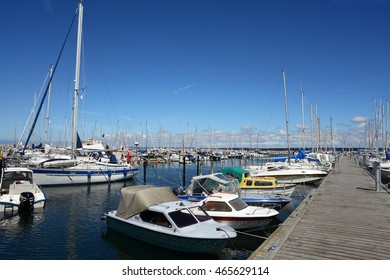 Helsingor, Denmark - July 19, 2016: Sailboats on a beautiful sunny day in the yachtport