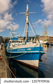 """HELSINGOR, DENMARK; MARCH 24, 2019. Fishing vessel """"Antares"""" waits for tour customers in the harbour."""