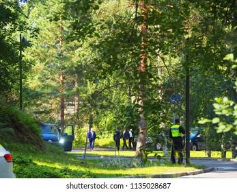 Helsinki 16 july 2018 Presidents Donald Trump and Melanie Trump having a breakfest meeting with Presidents Sauli Niinistö an Jenni Haukio at the Presidental residence at 9.40 hour local time
