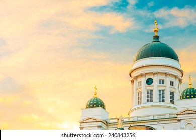 Helsinki Cathedral, Helsinki, Finland. Close Up Dome At Summer Sunset Evening With Dramatic Sky