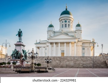 Helsinki Cathedral on early morning summer sun light.