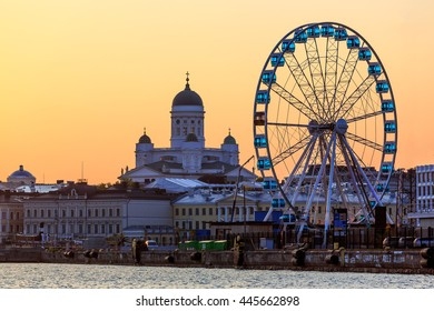 Helsinki Cathedral and Skywheel in summer evening