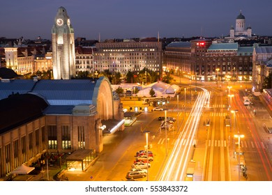 Helsinki Center Aerial View at Night. High Angle View of Helsinki Downtown on a Summer Night.