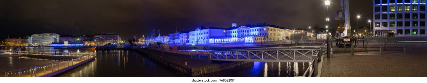 Helsinki City Downtown Finland 100 Year Annniversary Wide Angle Shot Taken 5th of December 2017, For Editorial use only