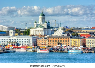 Helsinki cityscape and Helsinki Cathedral, Finland