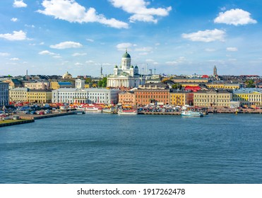 Helsinki cityscape with Helsinki Cathedral and Market square, Finland