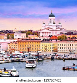 Helsinki cityscape with Helsinki Cathedral, South Harbor and Market Square Kauppatori , Finland