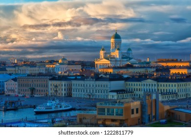 Helsinki cityscape and Helsinki Cathedral in sunrise, Finland