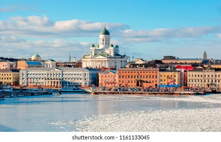 Helsinki cityscape with Helsinki Cathedral in winter, Finland