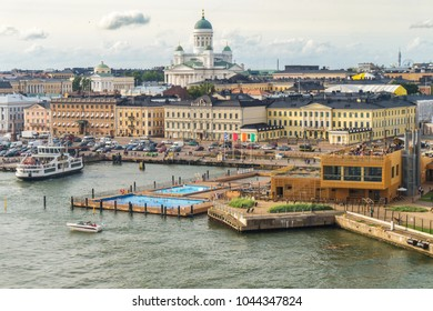 Helsinki cityscape. Saint Nicholas Cathedral and Market Square