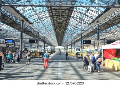 Helsinki, Finland - 08.04.2015: Helsinki Central Station. HEC is the main station for commuter rail and long-distance trains departing from Helsinki, Finland. Architecture
