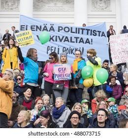 HELSINKI, FINLAND - 24 SEPTEMBER, 2016: People on a demonstration against racism