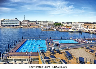HELSINKI, FINLAND - 26 May 2018: View of Helsinki harbor with Market square, Port of Helsinki and Allas sea pool
