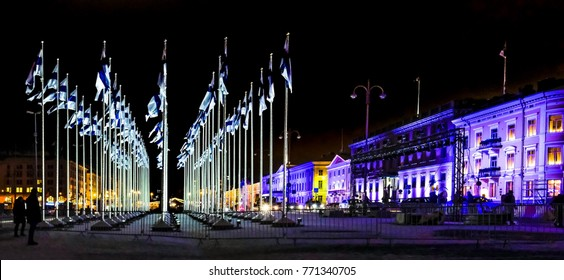 Helsinki, Finland 6.12.2017 the 100th anniversary of Finland´s independence. In honor of the celebration of the year, a hundred Finish flags have been lifted on the Helsinki Market Square.