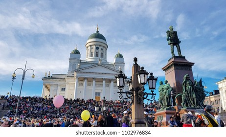 HELSINKI, FINLAND - APR 30,2018 May Day Eve at Helsinki Cathedral. In Finland it is called Vappu day, people go to the city for drinking and enjoy summer with friends.