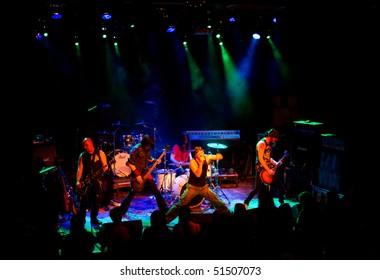 HELSINKI, FINLAND - APRIL 21: Finnish heavy metal band Parasite City live on stage at Tavastia, Club - the #1 rock venue in Finland - on April 21, 2010 in Helsinki, Finland
