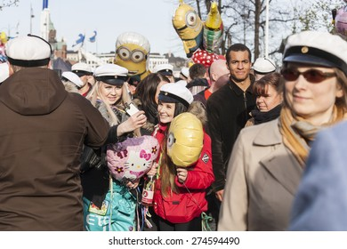 HELSINKI, FINLAND - APRIL 30, 2015: People in Helsinki at the May Day Eve carnival
