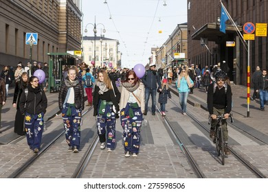 HELSINKI, FINLAND - APRIL 30, 2015: May Day Eve is a traditional carnival day in Finland, especially for the students.