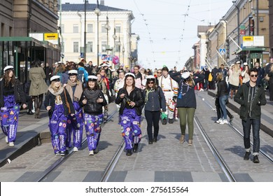 HELSINKI, FINLAND - APRIL 30, 2015: May Day Eve is a traditional carnival day in Finland