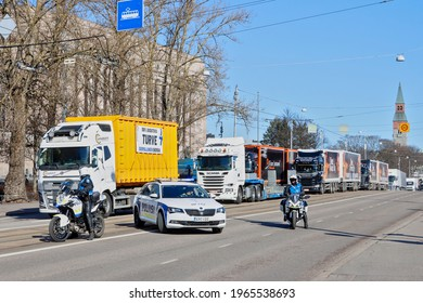 Helsinki, Finland - April 30, 2021: Peat producers drove over 100 full trailer trucks to the Parliament House. Producers protested and required the classification of peat as a renewable resource.
