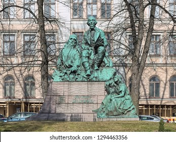 HELSINKI, FINLAND - APRIL 4, 2016: Monument to Finnish philologist Elias Lonnrot, best known for creating the Finnish national epic, Kalevala, Monument by sculptor Emil Wikstrom was unveiled in 1902.