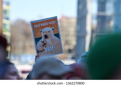 Helsinki, Finland - April 6, 2019: March and demonstration against climate change (Ilmastomarssi) in downtown Helsinki, Finland attended by more than 10000 people.