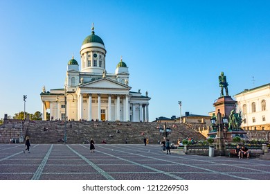 HELSINKI, FINLAND - AuG 17, 2018: Cathedral of St. Nicholas (Cathedral Basilica) and monument to Alexander II on the Senate Square