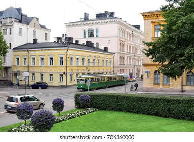 HELSINKI, FINLAND - AUG 28,2017 : View of street and colourful buildings in old town. Summer season and blue sky.