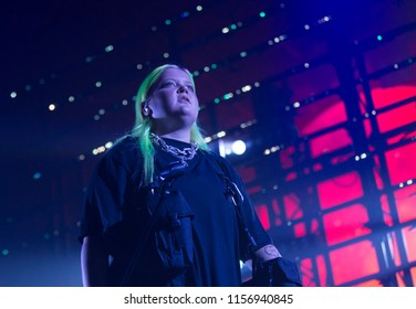 Helsinki, Finland - August 10, 2018:  Finnish singer Alma performing live on Lapin Kulta Red Arena at Flow 2018 Festival.Alma is currently working with MNEK, Rudimental, Charlie XCX and Sub Focus.