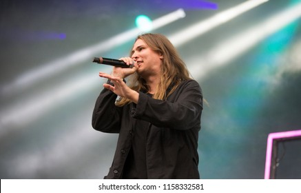 Helsinki, Finland - August 10, 2018:  Finnish rap artist Paperi T performing live on Main Stage at Flow 2018 Festival. He is known for his clever lyrics full of references on literature and culture.