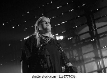 Helsinki, Finland - August 10, 2018:  Finnish singer and songwriter Alma performing live on Lapin Kulta Red Arena at Flow 2018 Festival.Alma is currently working with MNEK, Rudimental, Charlie XCX and