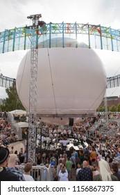 Helsinki, Finland - August 11, 2018:  Finnish trumpet player Jukka Eskola & UMO Jazz Orchestra performing live on Balloon 360 -stage at Flow 2018 Festival.