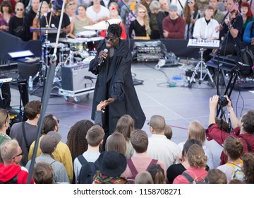 Helsinki, Finland - August 12, 2018:  American singer-songwriter Moses Sumney performing live on Balloon 360 -stage at Flow 2018 Festival.