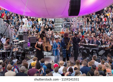 Helsinki, Finland - August 12, 2018:  American jazz saxophonis Kamasi Washington  performing live on Balloon 360 -stage at Flow 2018 Festival.