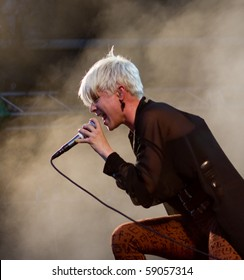 HELSINKI, FINLAND - AUGUST 14: Swedish recording artist and singer-songwriter Robyn live on stage at Flow 2010 Festival on August 14, 2010 in Helsinki, Finland