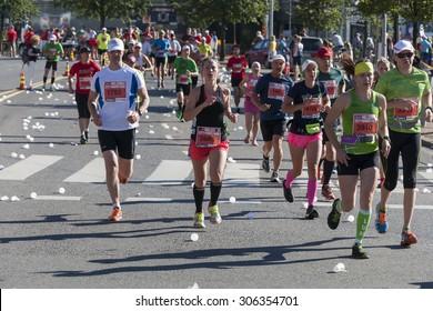 HELSINKI, FINLAND - AUGUST 15, 2015: Runners in Helsinki City Marathon 2015