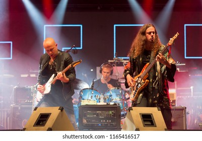 Helsinki, Finland - August 20,2018: Finnish bassist Lauri Porra with Flyover Ensemble performing before Steve Vai at Helsinki Festival 2018 in Huvila Festival Tent.