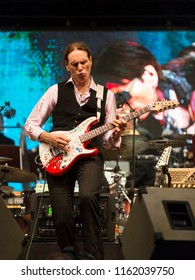 Helsinki, Finland - August 20,2018: Steve Vai performing with Tapiola Sinfonietta at Helsinki Festival 2018 in Huvila Festival Tent. He is considered one of the best electric guitarists in the world