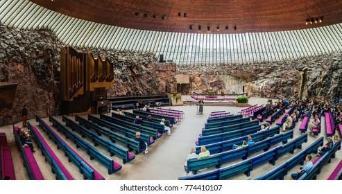 HELSINKI, FINLAND - AUGUST 25, 2016: Interior of Temppeliaukion Church (known also as Rock Church) in Helsinki, Finland