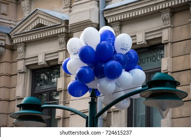 Helsinki, Finland. August 26, 2017. Soumi Finland 100 balloons, celebrating the centenary year of finnish independence.
