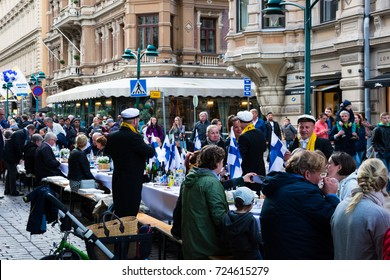 Helsinki, Finland. August 26, 2017. People celebrating the centenary year of finnish independence. Suomi Finland 100.