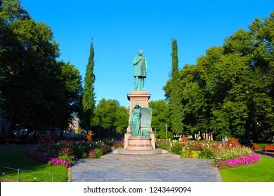 Helsinki, Finland - August 27 2018: Johan Ludvig Runeberg statue in Helsinki in the daylight